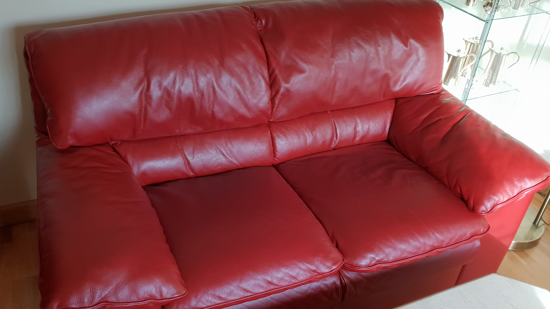 red leather after
